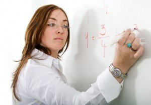 female teacher on a maths lesson